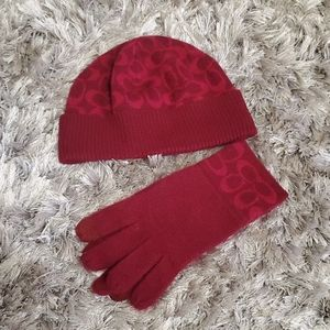 coach  hat and gloves  Burgundy